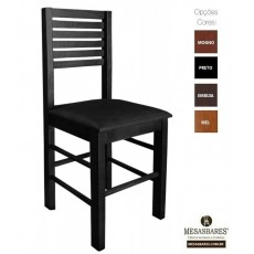 Cadeira Assento Estofado ou Madeira para Bar Preto - Cod: 5006