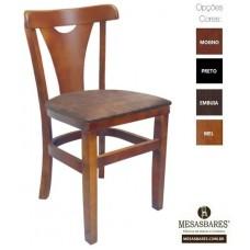 Cadeira de Madeira Estofada Fixa Mel - Cod: 5010