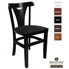 Cadeira de Madeira Estofada Fixa Preta - Cod: 5010