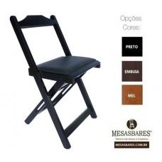 Cadeira Dobrável de Madeira para Bar Estofada - Cod: 670