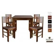 Conjunto Mesa 70x70 de Madeira com 4 Cadeiras Estofada Mel- Cod: 80524