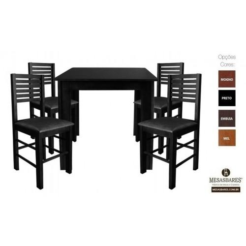 Conjunto Mesa 70x70 de Madeira com 4 Cadeiras Estofada Embuia- Cod: 80524