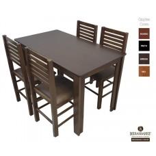 Conjunto Mesa 120x70 de Madeira Cor Embuia com 4 Cadeiras Estofada - Cod: 80525