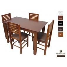Conjunto Mesa 120x70 de Madeira Mel com 4 Cadeiras Estofada - Cod: 80525