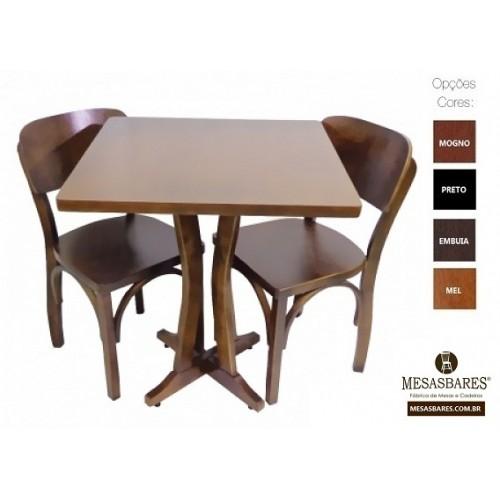 Conjunto de Madeira Top Mesa 60X60 Mais Cadeiras - Cod: 1841